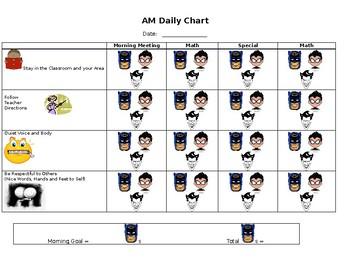 Batman Behavior Plan Chart - Stay in Area, Follow Directions, Quiet Voice & Body