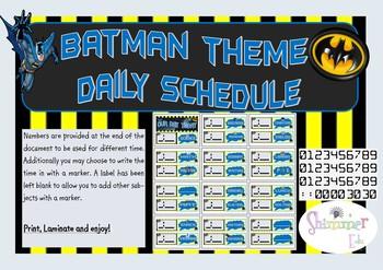 Batman DC superhero schedule timetable back to school