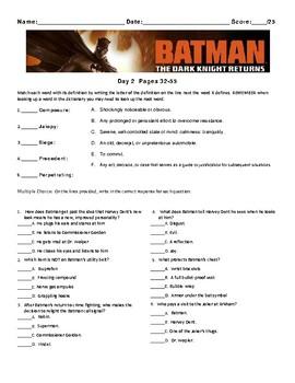 Batman: The Dark Knight Returns By Frank Miller , Worksheets, Assessment Unit
