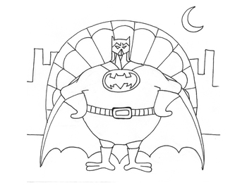 Batman Turkey Coloring Page
