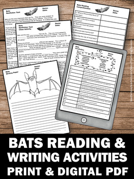 Bat Facts Science Reading Comprehension Passages and Questions, Stellaluna Unit