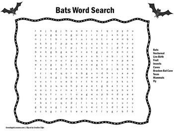 Bats Word Search | Bats Activity | Bats Unit | Bats Halloween | Bats Science