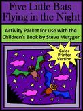 Bat Activities: Five Little Bats Flying in the Night Halloween Activity - Color
