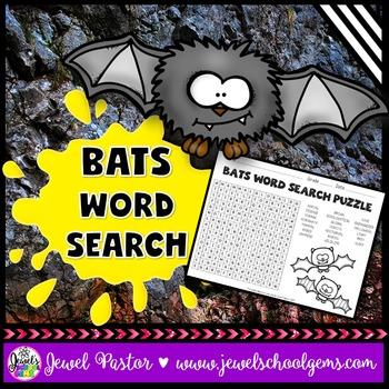 Bat Activity for Bat Week (Bats Word Search)
