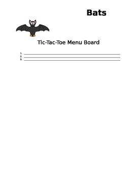 Bats! A Tic-Tac-Toe Menu Board
