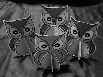 Owl Activities: 3D Owls Craft Activity Packet Black & White Version