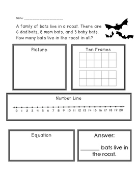 Bats Adding 3 Numbers Word Problems