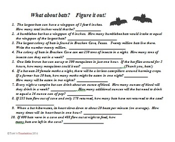Bats - anticipation guide, word problems, fact or opinion, and word search
