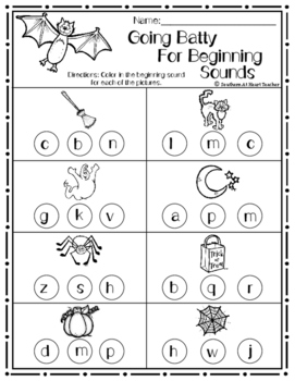 Bats - Beginning sounds worksheet - FREEBIE!