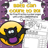 Halloween Bats Number Practice Printables - Recognition, Tracing, Counting 1-20
