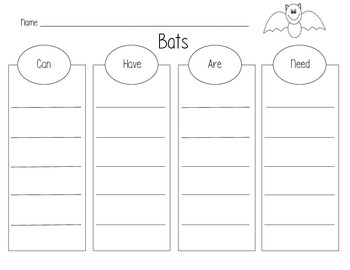 """Bats """"Can, Have, Are, Need"""" Graphic Organizer"""