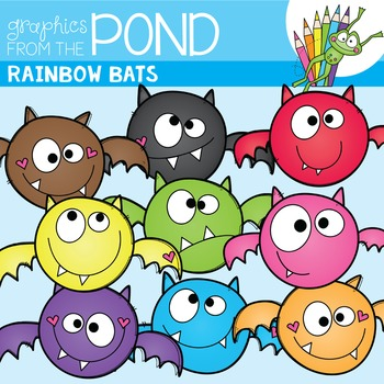 Bats Clipart {A Rainbow of Bats}