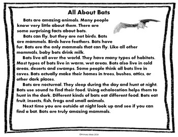 Bats Close Reading and Comprehension Activities: Primary Level