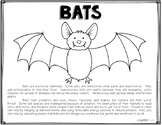 Bats Coloring Page, Informational Text, Endangered Species