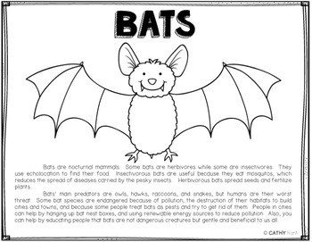 Endangered Species Bats Coloring Page Informational Text