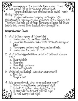 Bats- Compare and Contrast Reading Activity