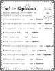 Bats Fact and Opinion Center / Lesson