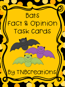 Bats Activities Fact and Opinion Task Cards