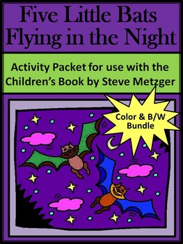 Bat Activities: Five Little Bats & Bat Facts Halloween Activity Bundle-Color+B/W