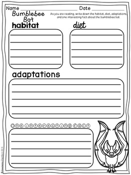 Bats Graphic Organizers: Fact Writing, Organizers, Nonfiction Resource