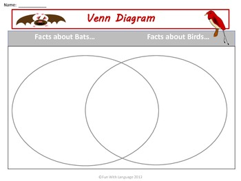Bats: Graphic Organizers KWL Chart, Venn Diagrams, Classifying for Common Core