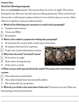 Bats: Non-fiction Reading Comprehension for Middle School Students
