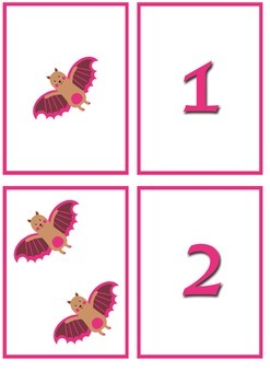 Bats Number Match Cards Numbers 1 - 20
