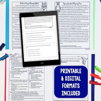 Paired Texts / Paired Passages: Bats, Owls, and Spiders Grades 4-8