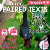 Paired Texts / Paired Passages: Bats, Owls, and Spiders Leveled for Grades 4-8