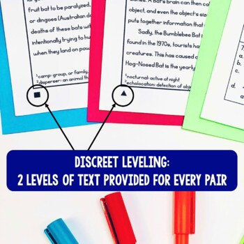 Paired Texts / Paired Passages: Bats, Owls, and Spiders Leveled for Grades 4-6