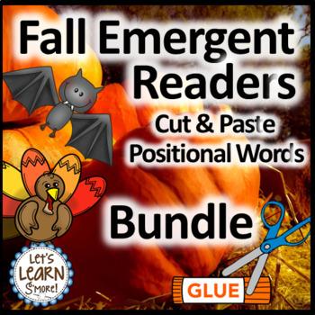 Bats, Pumpkins, Turkeys,  Positional Word, Cut and Paste Emergent Readers