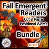Bats, Pumpkins, Turkeys,  Positional Word, Cut & Paste Emergent Readers Bundle