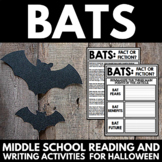 Bats - Middle School Reading Comprehension and Writing for Halloween