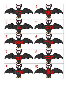 Bats Sight Word Write the Room