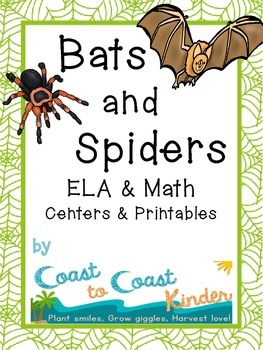 Bats & Spiders- ELA & Math Centers with Printables