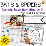 Bats & Spiders Speech Therapy Mini Unit   Digital Printable