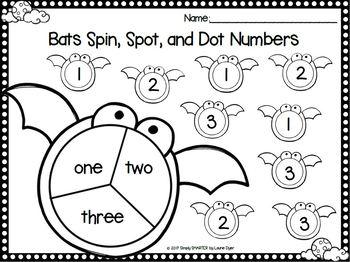 Bats Spin, Spot, and Dot Numbers:  NO PREP Bingo Dauber Math Activities