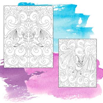 Bat Theme Activity: Coloring Pages, Zen Doodles