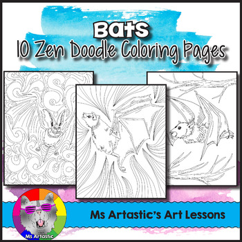 Bat Coloring Sheets. Zen Doodle Pages.