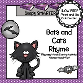 Bats and Cats Rhyme:  LOW PREP Bat Themed Rhyming Words Sorting Activity
