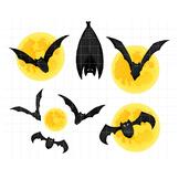 Bats and Moon Clipart | Spooky Halloween Graphics