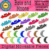 Bats and Moons Digital Moveable Clip Art