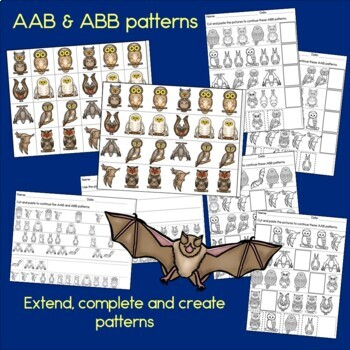 Bats and Owls Patterns Math Center with AB, ABC, AAB & ABB Patterns