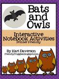 Bats and Owls Interactive Notebook Activities