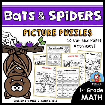 Bats and Spiders Math Picture Puzzles {1st Grade}