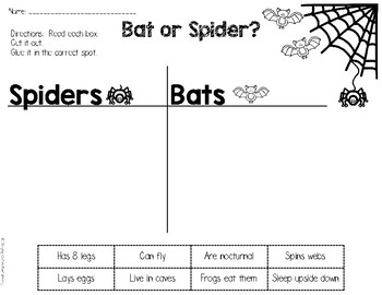Bats and Spiders Mini Books