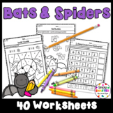 Bats and Spiders Themed Kindergarten Math and Literacy Worksheets and Activities