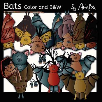 Bats clip art. Color and B&W.