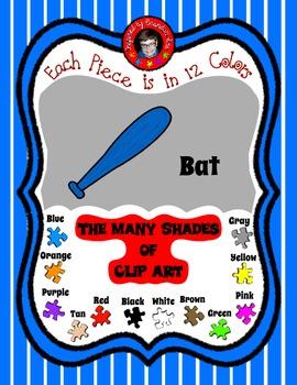 Bats for Base Balls Clip Art ~ Summer Fun has just Begun ~ 12 colors ~ Freebie