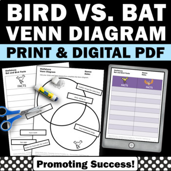 Bats and Birds Venn Cut and Paste Worksheets, Compare and Contrast